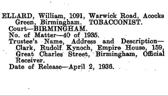 Bankruptcy release announcement, London Gazette, 17 April 1936