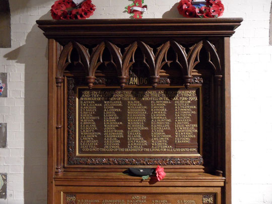 Part of the Roll of Honour in St. Mary's church. Thanks to Revd. Andrew Bullock