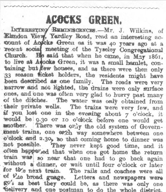 A description of Acocks Green in the early 1860s, Birmingham News, October 1905 (thanks to Peter White)