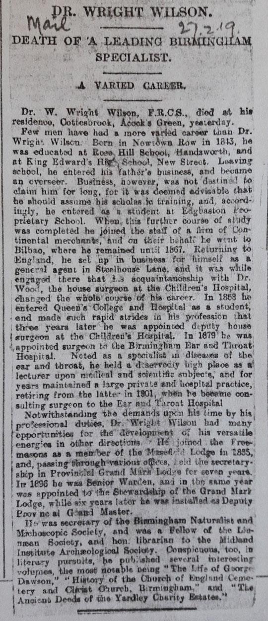Obituary of William Wright Wilson (Birmingham Libraries)