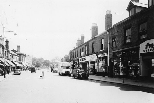 Shops looking east from Station Road in 1953 (Birmingham Libraries)