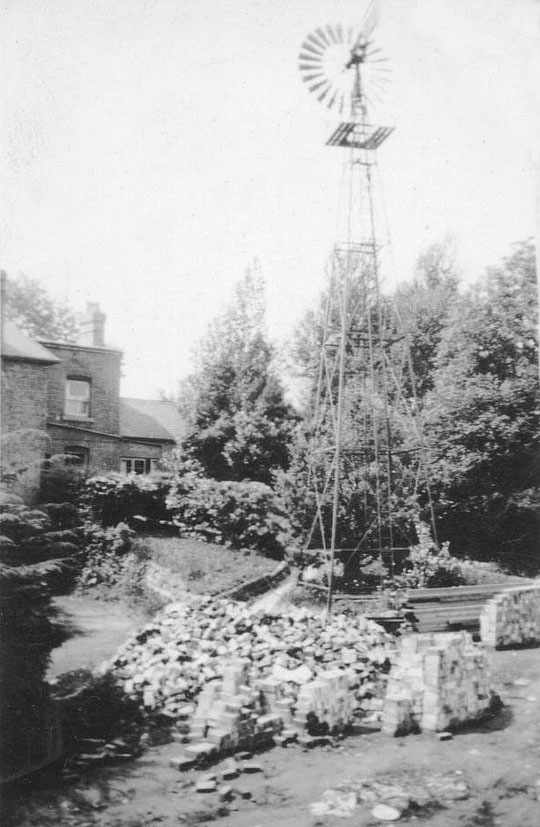 The wind pump and house from the Co-op laundry site (Ken Ball)