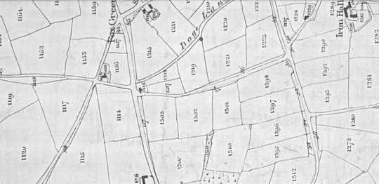 What became Olton Boulevard East, Tithe Map 1840s. On this map. north is on the right side, hence the rotation.