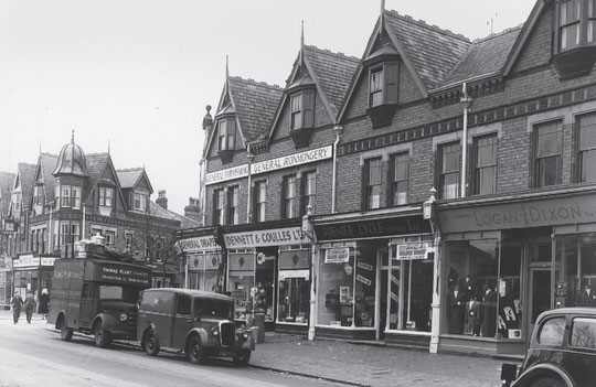 Shops east from Oxford Road in 1952 (Birmingham Libraries)