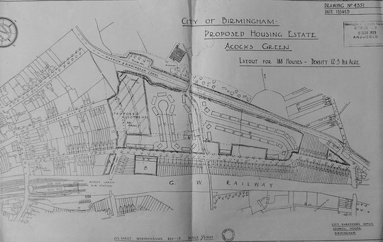 1920s map showing proposed council housing (Birmingham Libraries)