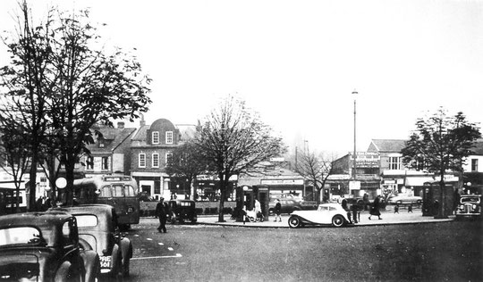 The post office facing the Green in the 1950s with its distinctive curved gable