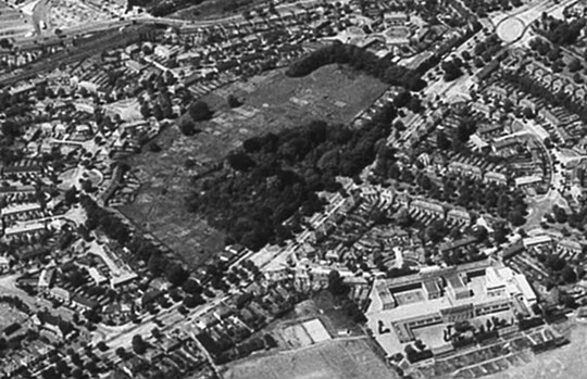 The Hall site around 1960, with the allotments and prefabs shown. (Birmingham Libraries)