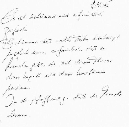 Eintrag aus dem Gästebuch (2005)