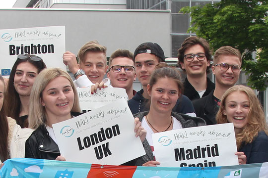 Happy students from BHAK1 Salzburg looking forward to their Erasmus+ adventures