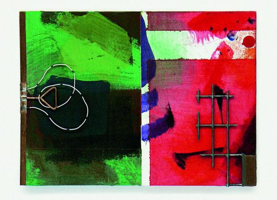 Rot/Grün 12, 2005, Acryl, Montage, verschiedene Materialien