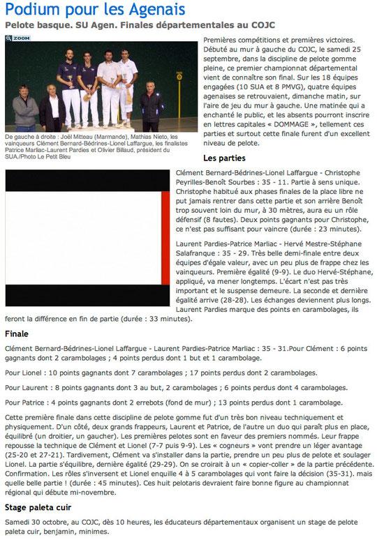 La Dépêche 27 octobre 2010