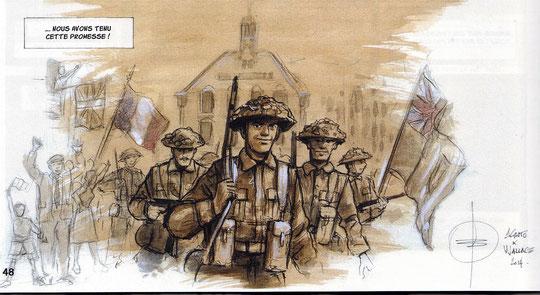 Le retour des soldats canadiens selon Stéphane Agosto (copyright-ANBD-Association Jubilée)