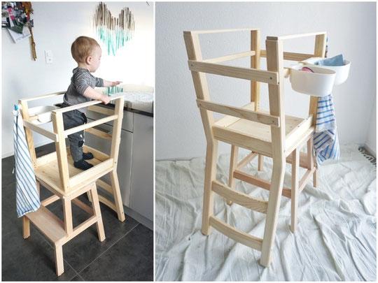 Als ich auch ein Learning Tower aus den zwei bekannten Teile von Ikea bauen wollte... gab's plötzlich eins der zwei Hocker nicht mehr. Mamifromtheblog hat aber ein neuer DIY gepostet. Baut uns jemand ein solcher Turm? Bittebitte? :)