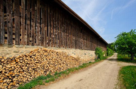 Le hangar à bois du Devens et une partie de ses stocks (© YL)