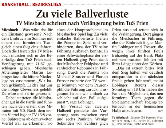 Bericht im Miesbacher Merkur am 12.10.2016 - Zum Vergrößern klicken