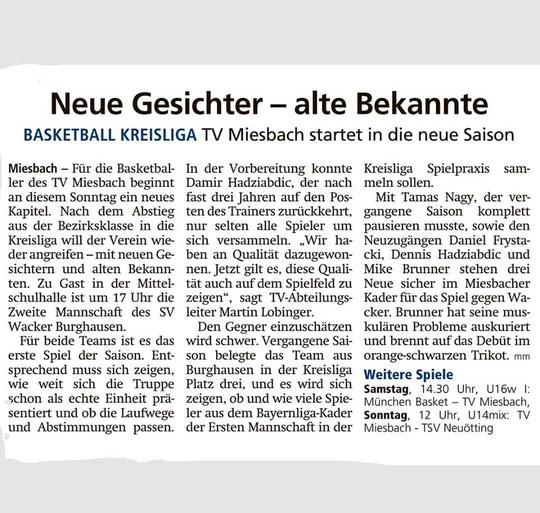 Artikel im Miesbacher Merkur am 12.10.2019 - Zum Vergrößern klicken