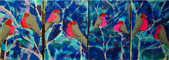 Rote vogel mit blau hintergrund