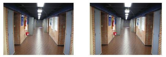 Avant et après (à droite) correction.