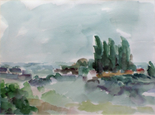 """Jessener Landschaft"", 1987, Aquarell"