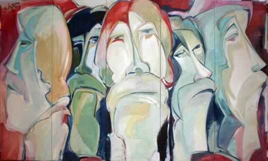 """""""Fünf Köpfe"""", 2008, Öl/Leinwand, 120 x 200 cm, (fünfteilig)"""
