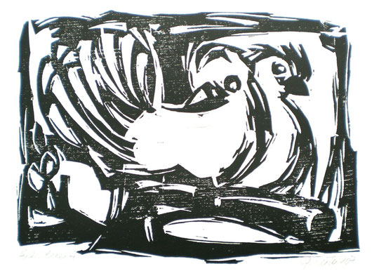 """""""Brieftauben-Paar"""", Illustration, 2007, Holzschnitt"""