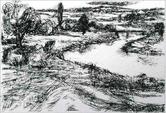 """Flusslandschaft"", 1976, Siebdruck, ca 26,5 x 38,5 cm"
