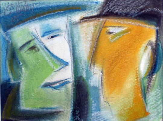 """""""Begrüßung"""", 2005, Ölkreide, Bleistift, (Illustration)"""