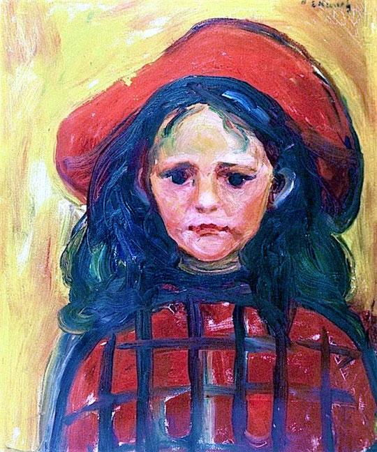 Potrait-Mädchen mit rotem Hut-Ölmalerei