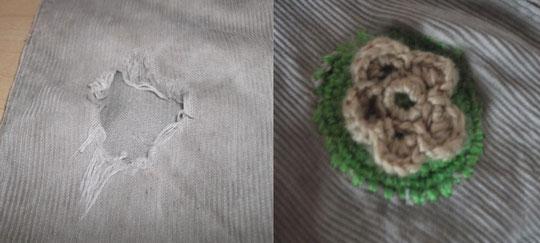 A las niñas no les gustan las rodilleras ( pero rompen los pantalones). La solucion??? lana, hilos y crochet