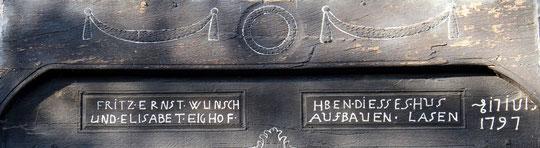 Inschrift über dem Tor zur Deele meines Elternhauses