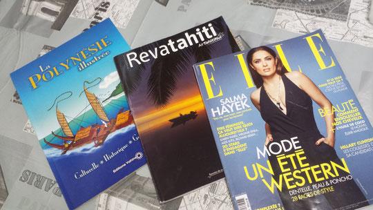 Des magazines et un livre illustré sur la culture, l'histoire et la géographie de la Polynésie française, j'adore!