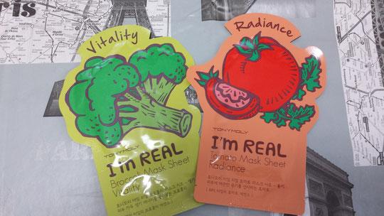 Des masques de beauté coréen au brocolis et à la tomate