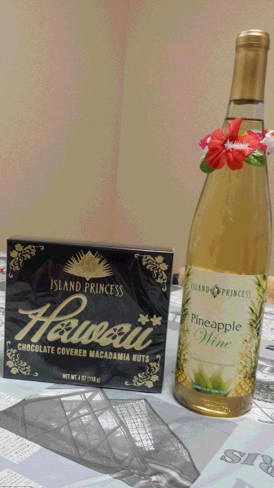 Des chocolats et une bouteille de vin de Hawaï