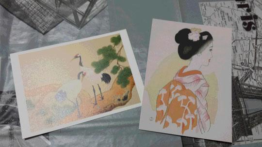 Deux cartes postales japonaises représentant 2 grues et une Japonaise en kimono. Magnifique!