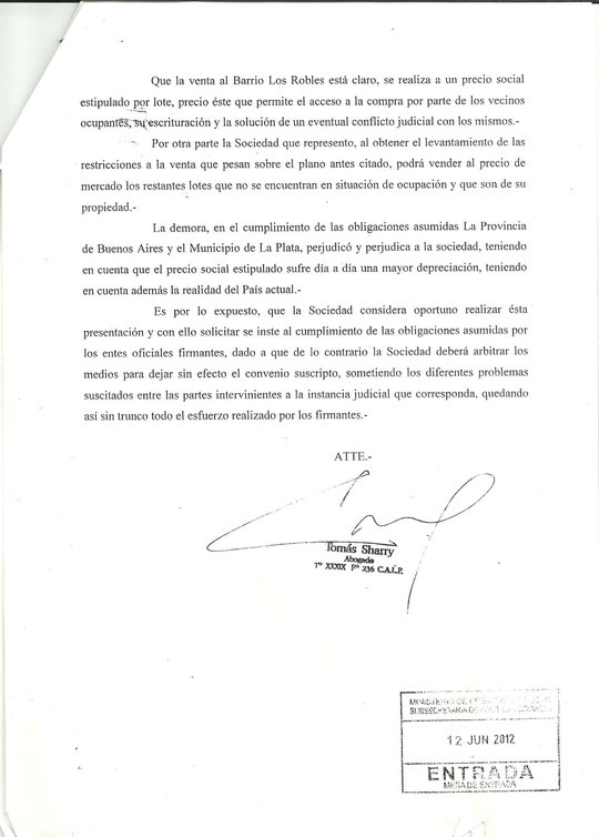 nota presentada por Villa Montoro SACIFI