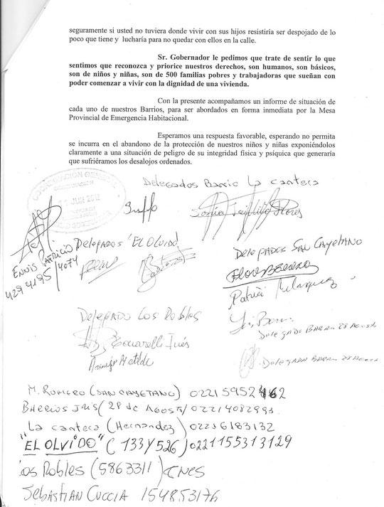 Petitorio presentado por los 5 Barrios movilizados al Gobernador
