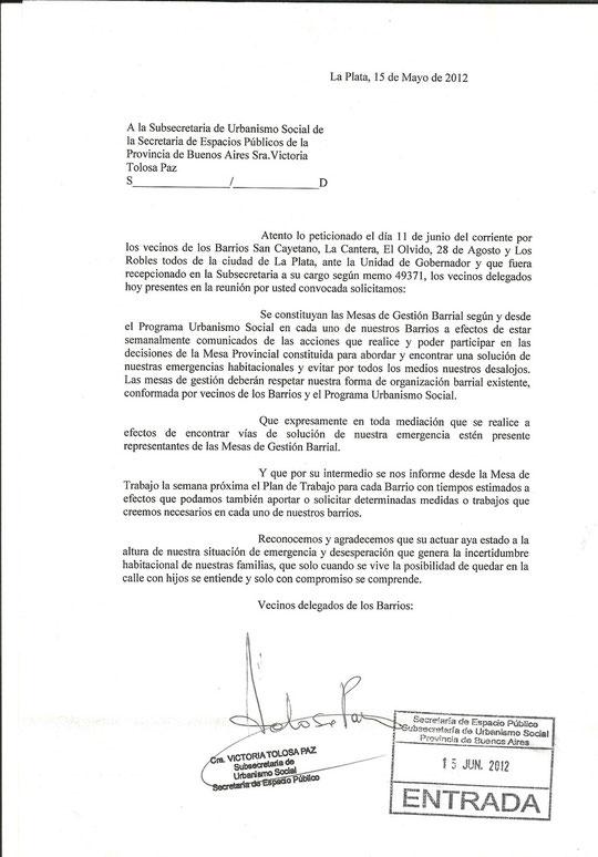 Petitorio presentado el 15 de junio ante la Subsecretaria Urbanismo Social