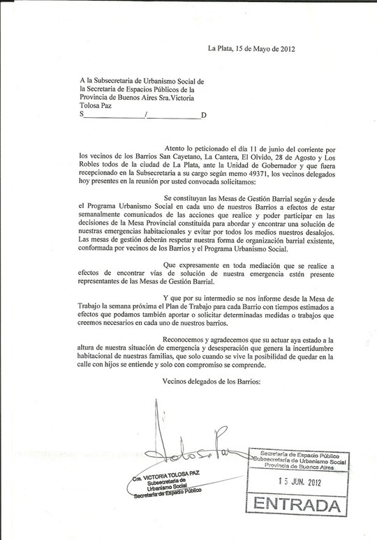 petitorio presentado Secretaria Urbanismo Social