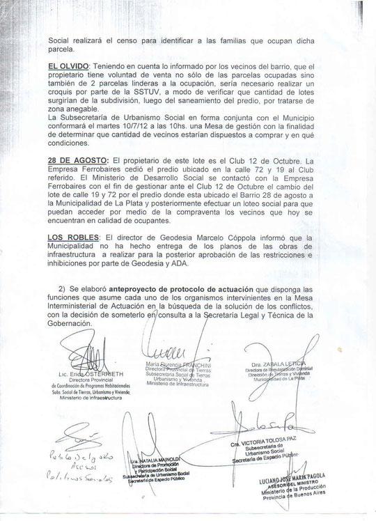 Acta de la Mesa donde la Secretaria de Tierras de la Municipalidad de La PLata, Dra. Leticia Zabala reconoce el incumplimiento