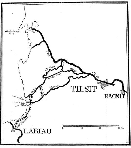Каналы построенные и недостроенные орденом в обход Куршского залива.