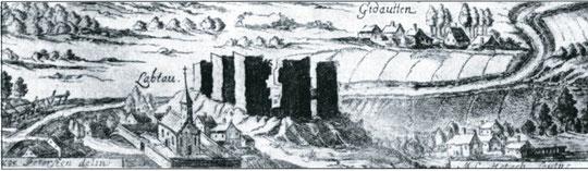 1724 г. руины замка Лаптау