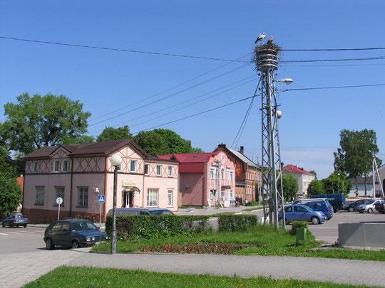 На этом древнем столбе в центре сегодняшнего городка поселилось ещё одно семейство