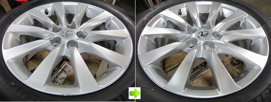 レクサスLS600hハイブリッドのアルミホイールのガリ傷リペア(修理・修復)前後比較写真