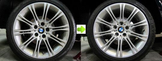 BMW525Mホイールガリ傷リペアビフォーアフター写真