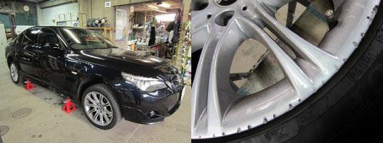 BMW525M仕様の全景とホイールガリ傷アップの写真