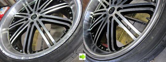 レクサスIS TOM'Sレーシング仕様のホイールのガリキズ・擦り傷・欠けの修理前後の比較写真2