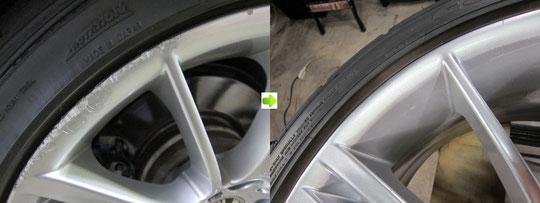 BMW335Mのホイール(シルバー)のガリキズ・スリ傷・欠けのリペア(修理・修復・再生)前後の比較写真3