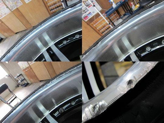 レクサスIS TOM'Sレーシング仕様のホイールのガリキズ・擦り傷・欠けの修理前のホイールの傷アップ写真