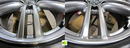 日産フーガのハイパーシルバーホイールのガリキズ、擦り傷、欠けのリペア(修理修復)前後比較写真5