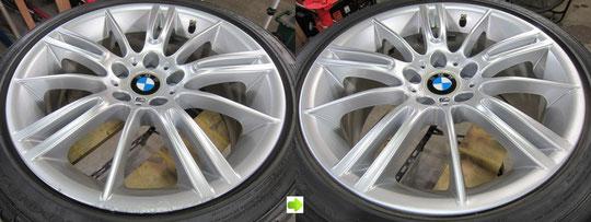 BMW335Mのホイール(シルバー)のガリキズ・スリ傷・欠けのリペア(修理・修復・再生)前後の比較写真1